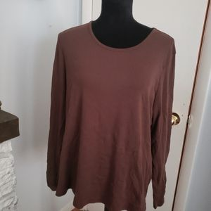 🍒5for$10White Stag brown long sleeve tee. Size 2X